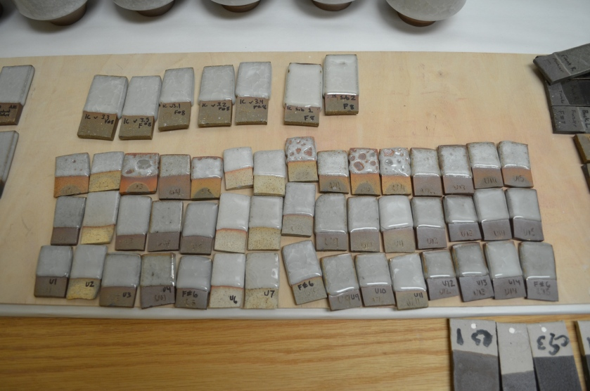 12 new clay bodies I'm testing with ice crackle glazes. 3 different firings. The top 7 tiles are new variations of my standard ice crackle with frit and bone ash additions and subtractions.