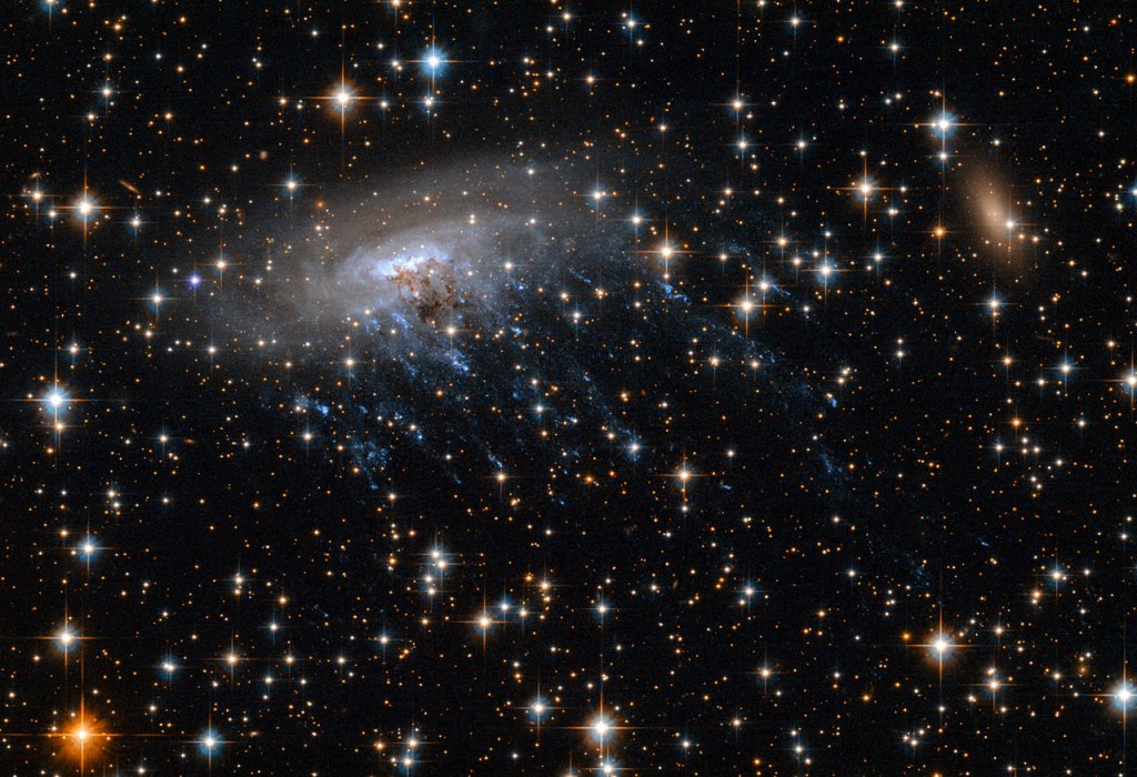 A New Hubble image showing spiral galaxy ESO 137-001 moving through the heart of galaxy cluster Abell 3627.