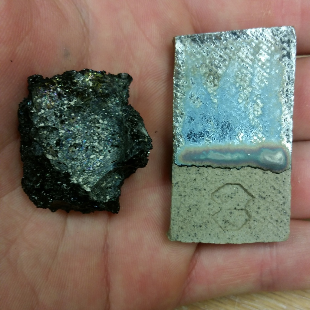Iridescent basalt Sample left, Iridescent Glaze right.
