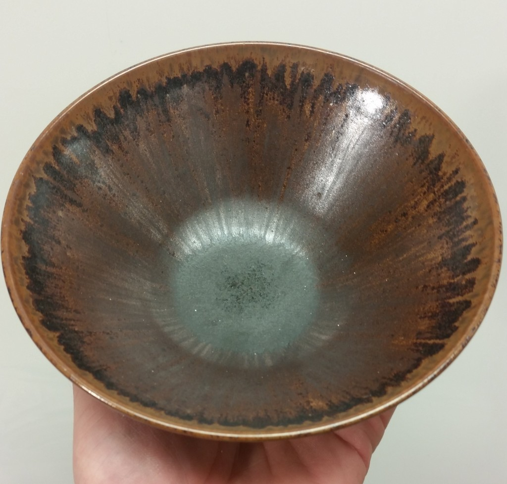 100 Basalt Glaze Material on Porcelain, fired to 1265C in Oxidation