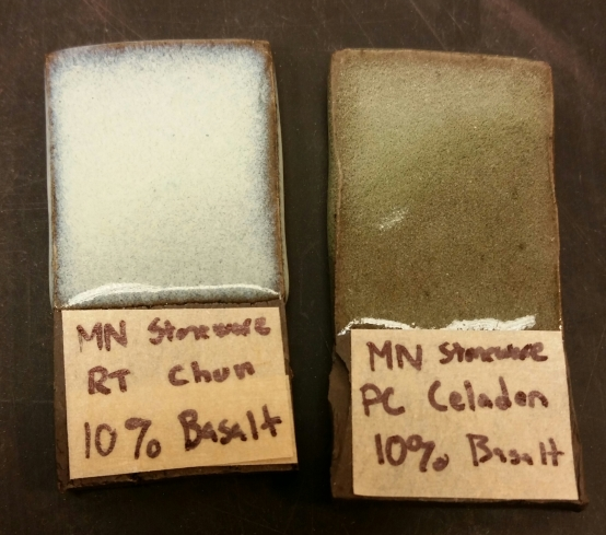 Mn Dark Stoneware with 10% Basalt Chun Left, 10% Basalt Celadon Right