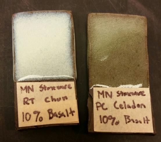 Mn Dark Stoneware with 10% Basalt Chun Left, 10% Basalt Celadon Right