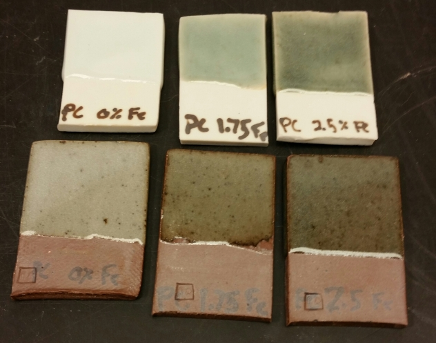 Fiske's PC Celadon with a range of 0%-2.55 Red Iron Oxide. Fired in C10 Reduction.