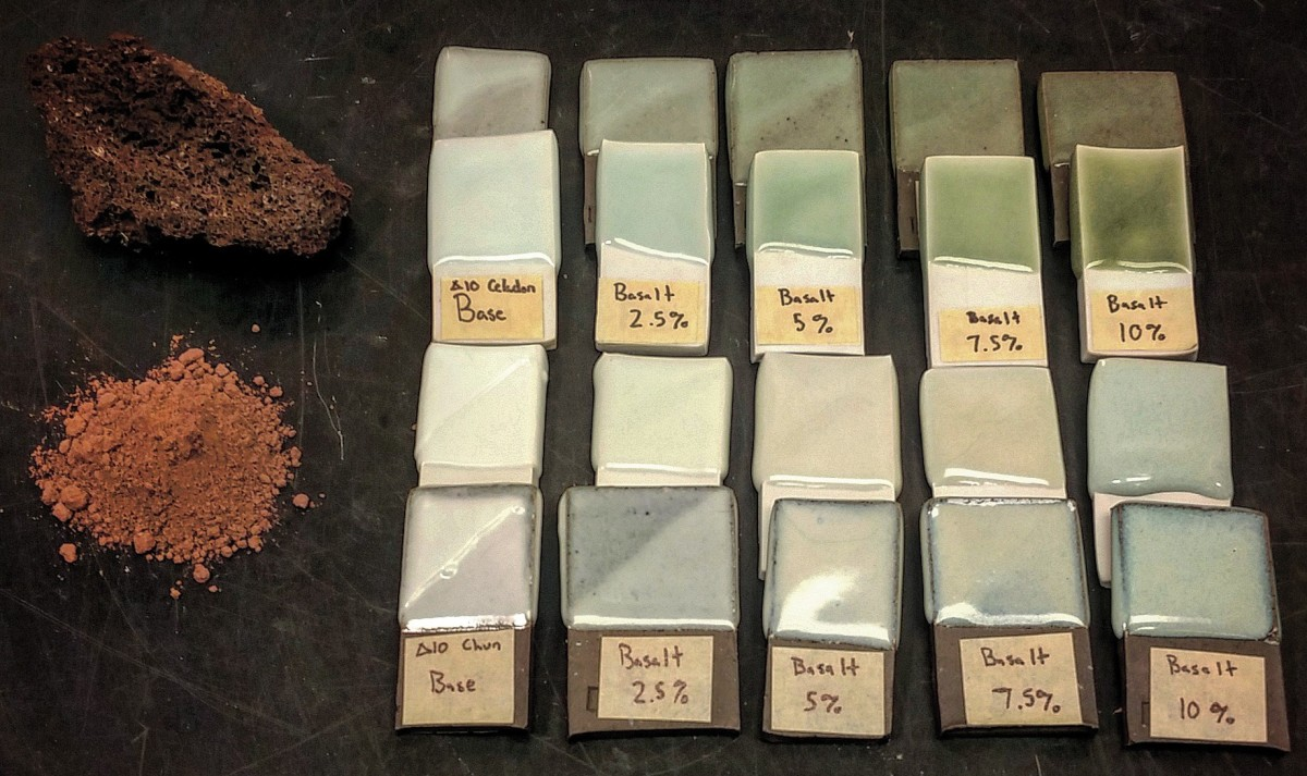 Basalt as Colorant in Celadon Glazes